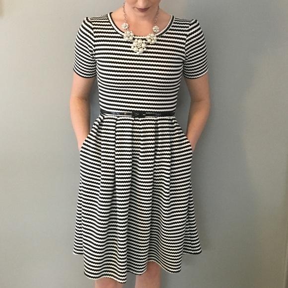 New LulaRoe Julia Dress XS dusty rose pink grey gray stripes striped lines soft